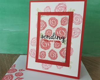 Handmade card - Red scribbly roses - Sending hugs and kisses - thinking of you - thanks, bedankt, merci, remerciement, bisous, calins