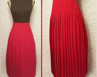 Vintage Pleated Skirt; Cherry Red Maxi
