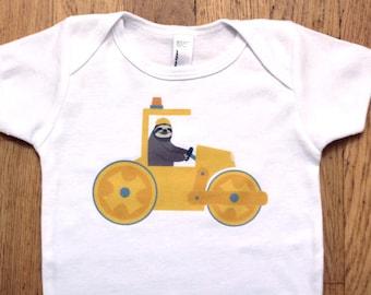 Sloth Onesie - Construction Steamroller Baby Clothes - Steam Roller Baby Onsie