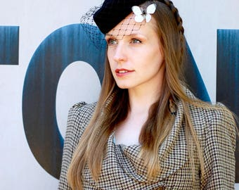 Black Felt Pillbox Hat With Veil and White Butterflies