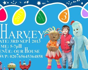 in the night garden personlaised photo birthday invitations any name and age  8 pack cards