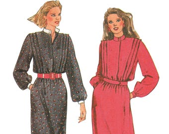 1980s Dress Pattern Tuck Front Stand Up Collar Long Sleeve Dress Sewing Pattern McCalls 8772 Size 16 Bust 38 UNCUT