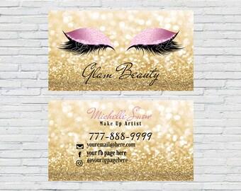 Esthetician business cards etsy gold makeup artist business card lash extensions make up artist esthetician 3d colourmoves
