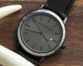 Natural Deer Antler Watch, Matte Black Watch And Leather Strap, Antler Jewelry, Johan Eduard Watches