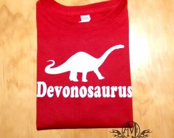 Personalized kids dinosaur shirt featuring brontosaurus, kids dinosaur birthday party shirts