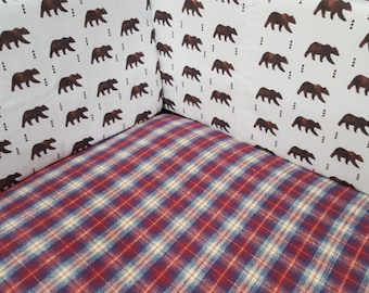 Soft, Flannel Plaid Fitted Sheet- Red Navy Plaid, Cradle, Crib, Twin, Queen