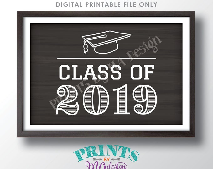 """Class of 2019 Sign, High School Graduation 2019 College Grad Sign, Graduation Party Decorations, PRINTABLE 24x36"""" Chalkboard Style Sign <ID>"""
