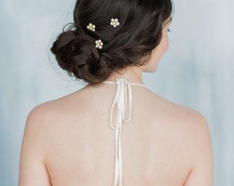 Gold Bridal Hair Pin, Crystal Flower Hair Pin Set, Ivory Floral Hair Pin, White Hair Pin Set of 3, Bridesmaids Floral Hair Accessory, ANNE
