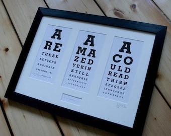 The Glasgow Eye Test. Framed.