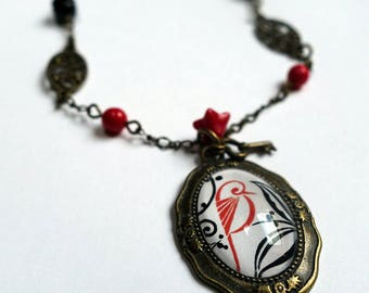 Vintage necklace, the red bird