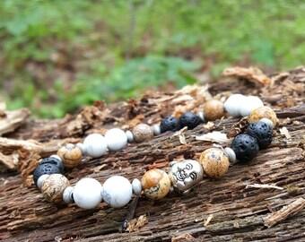 Buddha Lava Rock Stretch Energy Bracelet Yoga Mala Beads Wrist Picture Jasper Howlite