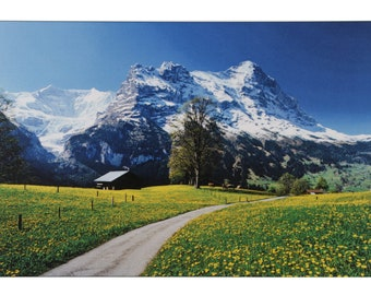 Switzerland Mountain Scenery Beauty Fine Print Wall Sticker Poster Without Frame (24 X 48 Inches)