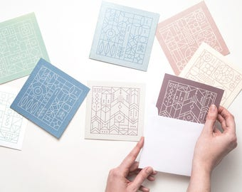 Metallic Square Cards Set of 8 | Folded Illustrated Note Cards with Modern Minimalist Patterns