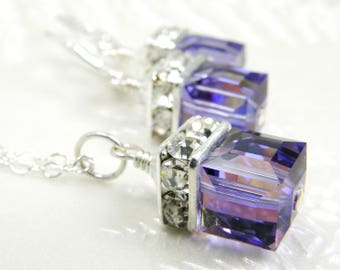 Tanzanite Crystal Jewelry Set, Purple Swarovski Cube Necklace and Earrings, Sterling Silver, Wisteria Bridesmaid Wedding Gift, Handmade