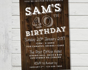 40th Invitation Mens Floorboards Male Birthday Party Invite Guy Forty Man | 30th 50th 60th 70th (Evite) Digital File Supplied