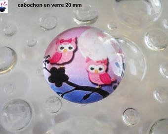 1 cabochon clear 20mm OWL OWL theme
