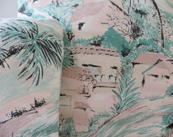 Vintage Barkcloth Throw Pillows - Tropical Palm Trees - Pink and Green Pastel (2 Available)