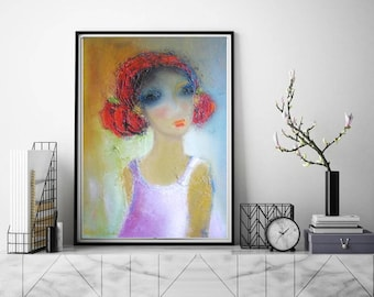 Abstract face painted Giclee art print contemporary boho interior decor, wall canvas print from original, girl face painted funky modern