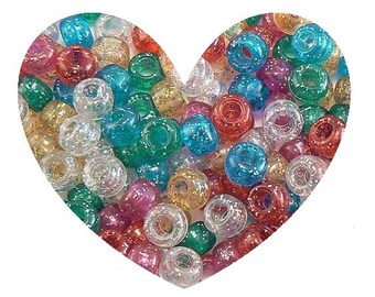 GLITTER Pony  BEADS 1 LB Pound Transparent Plastic - Raver, Kids, Kandi