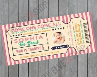 Circus Birthday Invitation - Circus Invitation - Circus Ticket Invitation - Carnival Invitation - Admit One Ticket