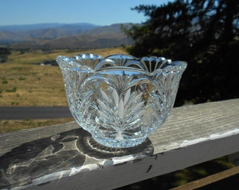 "Crystal Clear Industries Hand Cut Lead Crystal Bowl, 6-1/4"" Diameter x 4"" Tall, Made in Poland, Original Sticker"