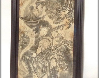 Hand aged reproduction print of old Japanese Tattoo design.