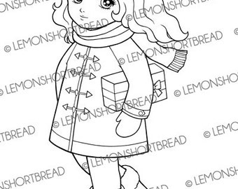 Digital Stamp Winter Gift Girl, Digi Download, Christmas Presents Shopping, Holiday Happy Birthday, Clip Art, Scrapbooking Supplies