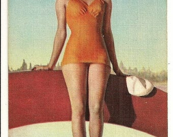 Vintage 1940s Linen Postcard: Blonde Bathing Beauty Sitting on Surfboard, Beach Scene, Swimsuit Model, Pin-up, Pinup - Free Shipping