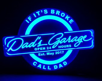 Dad's Garage RGB Acrylic LED Sign Engraved Wall Sign Neon Like Sign Color Changing Remote Control 18 x 13 inches Made In USA Free Shipping