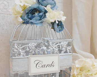 Silver, Blue & Ivory Wedding Birdcage Card Holder Box | Wedding Card Box | Silver Bird Cage | Winter Wedding Decoration | Something Blue