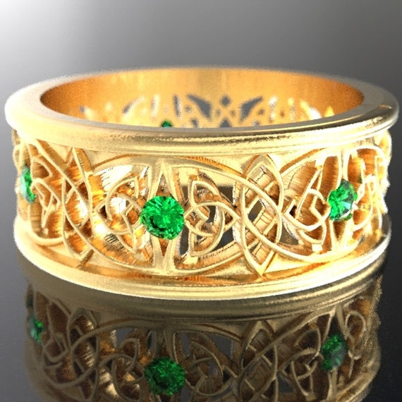 Gold Celtic Wedding Ring With Cut-Through Celtic Butterfly Design & Emerald Stones in 10K 14K 18K or Palladium, Made in Your Size Cr-1040