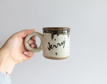 """Name """"Jerry"""" Hand Thrown Ceramic Coffee Cabin Mug, Vintage Speckled Pottery"""