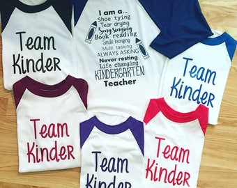Kindergarten teacher shirts, team kindergarten, baseball tee, custom shirts, teacher shirts, pre-k shirts