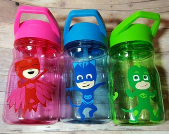 Set of 10 Gekko/Gecko, Catboy, owlette PJ party favors- 12 oz bpa free straw cups/water bottles/tumblers - mix & match masked characters