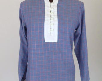 Vintage 70's Women's Blouse Pullover Shirt Blue Cotton Blend Red Checks with White Contrasting Collar Cuffs and Placket Bib Size M / Medium