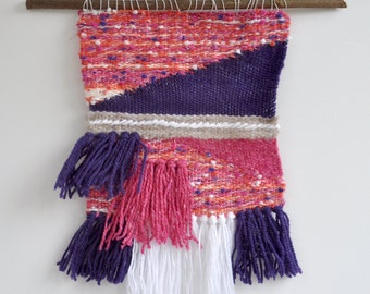 Weaving, tapestry wall vilolet, pink, beige and white on branch - Bohemian spirit ornament