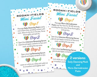 Rodan and Fields Mini Facial Cards, Instant Download, Give it a glow, RF Mini Facial, Facial Instructions, Microdermabrasion, Daily Mask