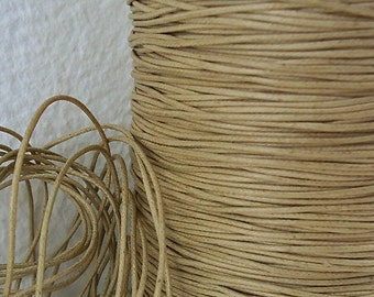 6yds Cord Waxed Cotton Brown 1mm Tan String Lace Jewelry twine 1mm Cord Macrame String for Bracelet and Necklace