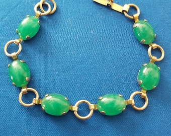 Vintage Gold Tone Bracelet with Green Lucite Stones
