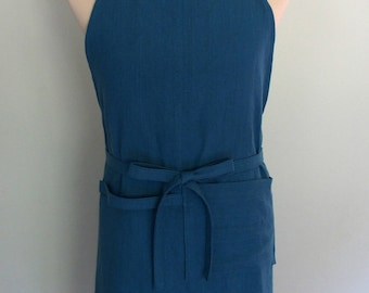 Linen Apron with Pockets and Towel Loop in Dark Teal Blue, Men's Apron, Extra Wide Apron, Parisian Blue Apron, Adjustable, Gift for Him