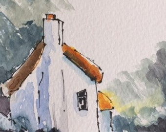 Landscape ORIGINAL Miniature Watercolour 'Cinnamon Cottage' Thatched ACEO  For him For her, Home Decor, Wall Art, Gift Idea, Free Shipping