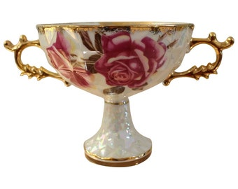 Royal Sealy China - JAPAN  Footed Porcelain Compote Candy Dish with Handles