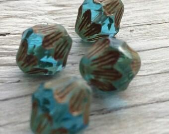 Czech glass baroque bicone beads - aqua picasso 13x11mm pack of 4 (B02)