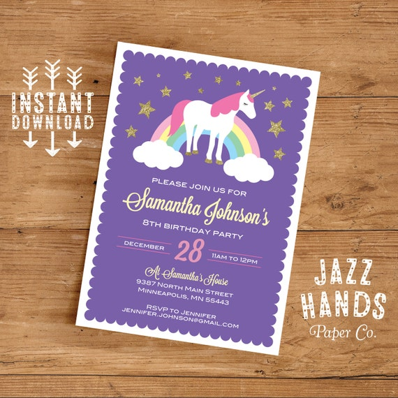 Unicorn birthday invitation template diy printable unicorn unicorn birthday invitation template diy printable unicorn party invitation unicorns rainbows instant download stopboris Image collections