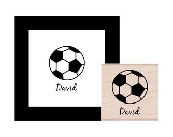 Soccer Ball Personalized  Rubber Stamp