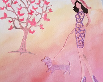 Handmade blank modern card with lady and dachshund in multi colour