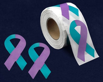250 Large Teal & Purple Ribbon Stickers (250 Ct) (ST-02-32)