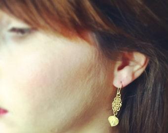 Gold earrings, Boho earrings, Dangle earrings, Bridal earrings, Drop earrings, Long gold earrings,  Chainmaile earrings, Leaf earrings, Chic
