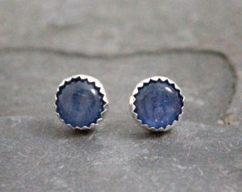 Kyanite earrings - Gemstone earrings - Gemstone stud earrings - Blue gemstone earrings - Silver Post Earrings - Silver Studs