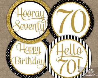 70th Birthday Cupcake Toppers - 70th Birthday Party Decorations Printable - Black Gold Glitter Elegant 70th Birthday Favor Tags 70 Years BGL  sc 1 st  Etsy & 70th Birthday Party Decorations Gold u0026 Black Stickers for